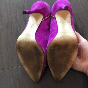 Enzo Angiolini Shoes - Pink suede heels with zipper accent